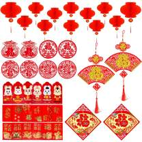 kortes 42 Pieces Chinese New Year Decoration - Red Envelopes Hong Bao Red Paper Lantern Chinese Fu Character Paper Window - Spring Festival Party Decor
