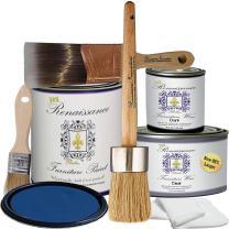 Retique It Chalk Finish Paint by Renaissance - Non Toxic, Eco-Friendly Chalk Furniture & Cabinet Paint - Deluxe Starter Kit, Ultramarine