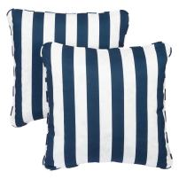Mozaic Company Indoor/ Outdoor 18-inch Corded Pillow, Navy Stripes, Set of 2