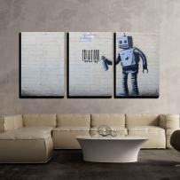 "wall26 - Robot Graffiti Banksy Street - Canvas Art Wall Decor - 16""x24""x3 Panels"