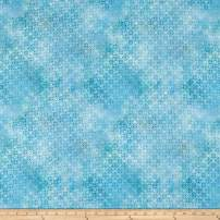 In The Beginning Fabrics Diaphanous by Jason Yenter Trellis Sky Fabric, 1, Blue, Fabric by the Yard