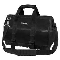 HAUTMEC 16-inch Heavy Duty Wide Open Mouth Tool Bag, Shoulder Organizer Bag With Water-proof Molded Base, Double 600D Fabric, Black, HT0096-TB