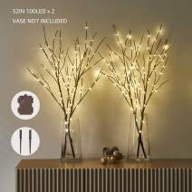 LITBLOOM Lighted Brown Willow Branches with Timer Battery Operated 2 Sets Tree Branch with Warm White Lights for Holiday and Party Decoration 32IN 100 LED Waterproof