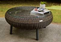 Tortuga Outdoor Round Low Wicker Table (Pecan)