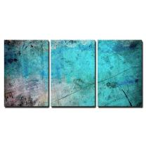 """wall26 3 Piece Canvas Wall Art - Blue and Splatter Ink Watercolor Paint Background - Modern Home Decor Stretched and Framed Ready to Hang - 24""""x36""""x3 Panels"""
