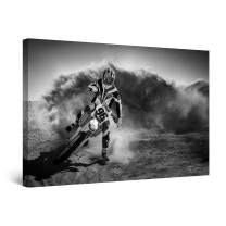 """Startonight Canvas Wall Art Black and White Abstract Motocross Rider, Framed Quantic Home Decor for Bedroom 24"""" x 36"""""""