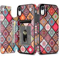 HianDier Wallet Case for iPhone XR, Slim Protective Case with Credit Card Slot Holder Flip Folio Soft PU Leather Magnetic Closure Cover Case Compatible with iPhone XR iPhone 10R, Mandala Colorful