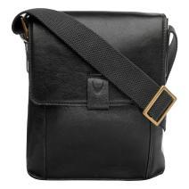 "Hidesign Aiden Genuine Leather Mini Crossbody Men/Women Messenger Bag / Travel Bag / 10.5"" iPad Bag, Black"