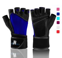 RIMSports Weight Lifting Gloves with Wrist Support, Comfort Padded Workout Gloves with Leather, Ideal Gym Gloves for Weight Lifting, Training, Powerlifting, Rowing, Fitness, Exercise