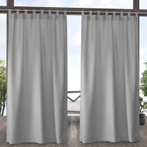 Exclusive Home Curtains Indoor/Outdoor Solid Cabana Tab Top Curtain Panel Pair, 54x96, Cloud Grey
