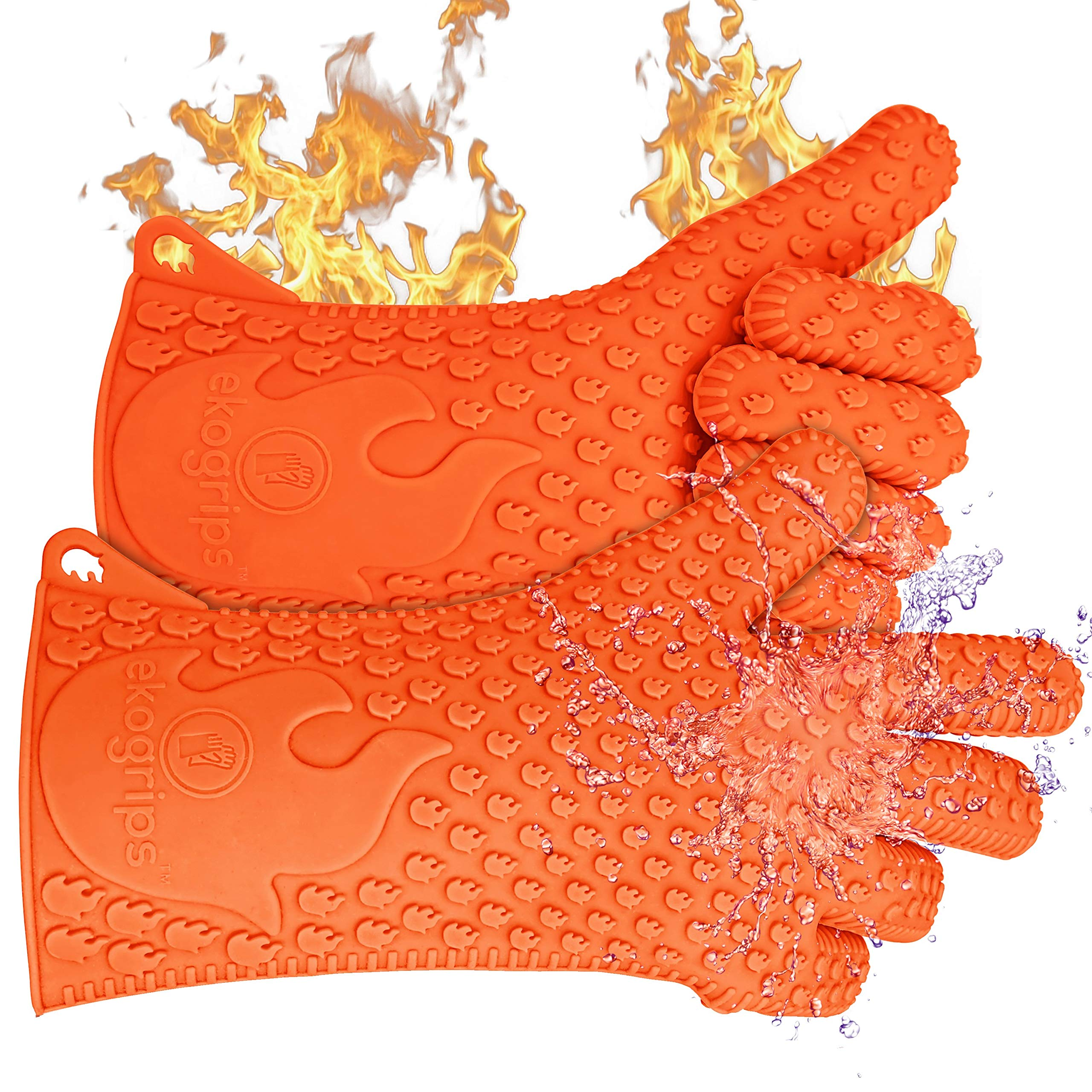 Jolly Green Products Ekogrips Premium BBQ Oven Gloves   Best Versatile Heat Resistant Grill Gloves   Insulated Silicone Oven Mitts for Grilling   Waterproof   Forearm Protection   Orange, L/XL