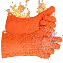 Jolly Green Products Ekogrips Premium BBQ Oven Gloves | Best Versatile Heat Resistant Grill Gloves | Insulated Silicone Oven Mitts for Grilling | Waterproof | Forearm Protection | Orange, XXL