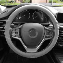 FH Group FH3003GRAY Gray Steering Wheel Cover (Silicone W. Grip & Pattern Massaging grip Gray Color-Fit Most Car Truck Suv or Van)