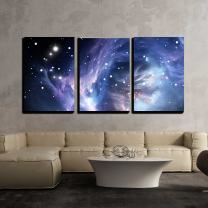 """wall26 - 3 Piece Canvas Wall Art - Blue Space Nebula - Modern Home Decor Stretched and Framed Ready to Hang - 16""""x24""""x3 Panels"""