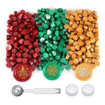 Yoption 360 Pieces Sealing Wax Beads Kit, Red God Green Christmas Sealing Wax for Wax Seal Stamp with Candles and Melting Spoon, 3 Colors