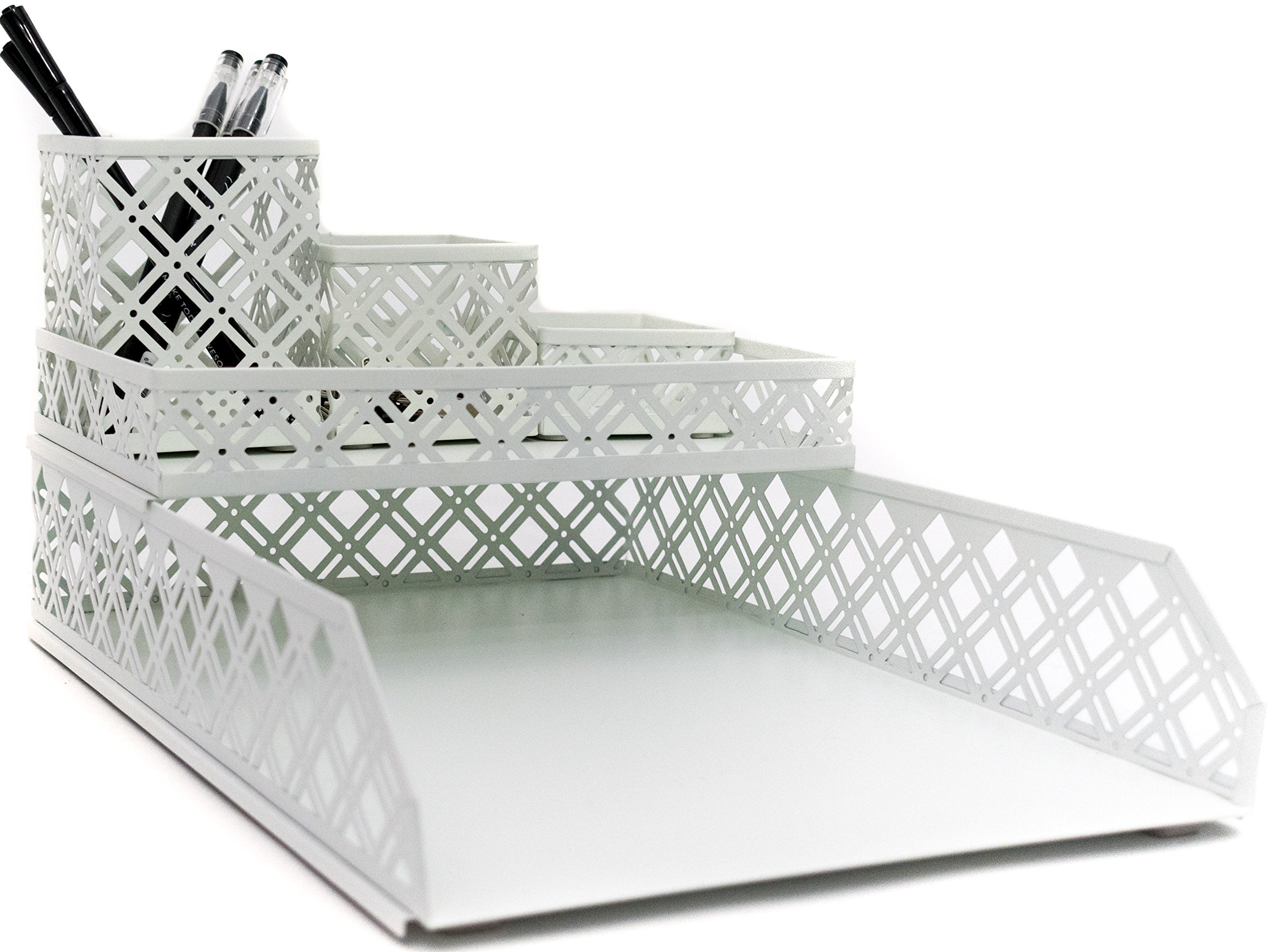 Blu Monaco White Desk Organizer - 5 Piece Interlocking Desk Accessories Set - Paper - Document Tray, Pen Cup, 3 Assorted Accessory Trays