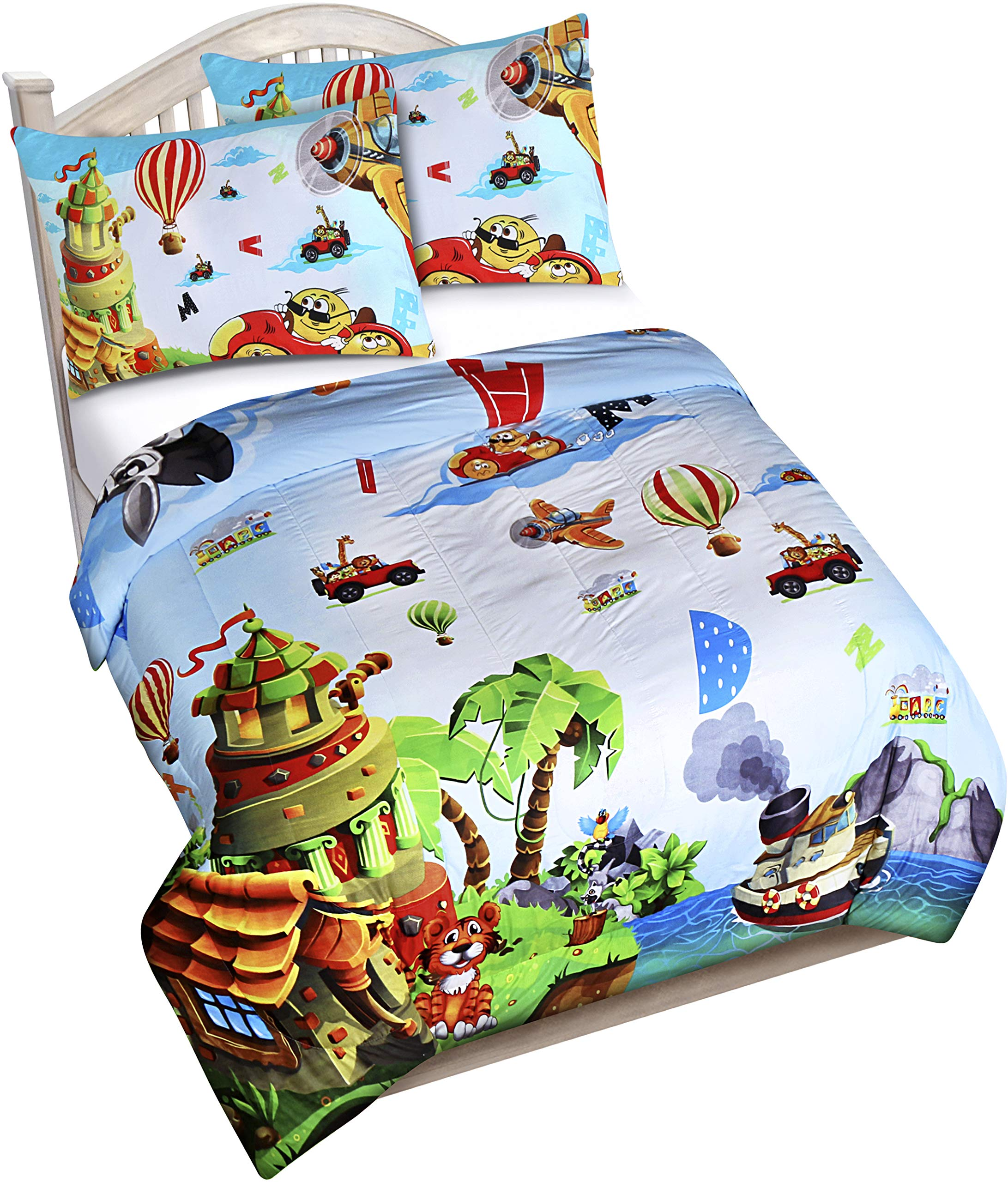 Utopia Bedding All Season Jungle Animal ABC Letter Comforter Set with 2 Pillow Cases - 3 Piece Soft Brushed Microfiber Kids Bedding Set for Boys/Girls – Machine Washable (Twin/Twin XL)