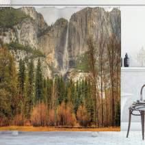 "Ambesonne Yosemite Shower Curtain, Yosemite Falls Trees Mountain Cliff Autumn National Park California Nature Print, Cloth Fabric Bathroom Decor Set with Hooks, 75"" Long, Orange Green"