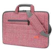 BRINCH Laptop Bag for Women Slim Light Business Briefcase Shoulder Messenger Bag Water Resistant Portable Computer Carrying Sleeve Case w/Strap and Hidden Handle Fits 15-15.6 Inch Laptop, Pink