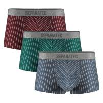 Separatec Men's Underwear Stylish Striped Pattern Smooth Cotton Trunks 3 Pack