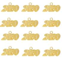 Aokbean Pack of 12 Alloy 2020 Year Charm Graduation Charm for DIY Crafts Graduation Tassel Grad Day (Gold) (Gold 2020, Large)