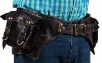 "Hell blues Genuine Leather Large Utility Vintage Practical Waist Belt Fanny Pack ~ Two Pocket Handmade Men Women Leather Bum Bag, Black (32""-45"")"