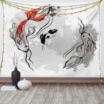 "Ambesonne Japanese Tapestry, Japanese Style Aesthetic Digital Motley Koi Fish Marine Underwater Theme Print, Wide Wall Hanging for Bedroom Living Room Dorm, 80"" X 60"", Orange Grey"