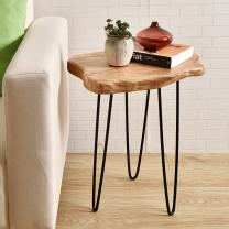 """WELLAND Natural Edge End Table, Wood Side Table, Nightstand, Plant Stand 20.5"""" Tall"""