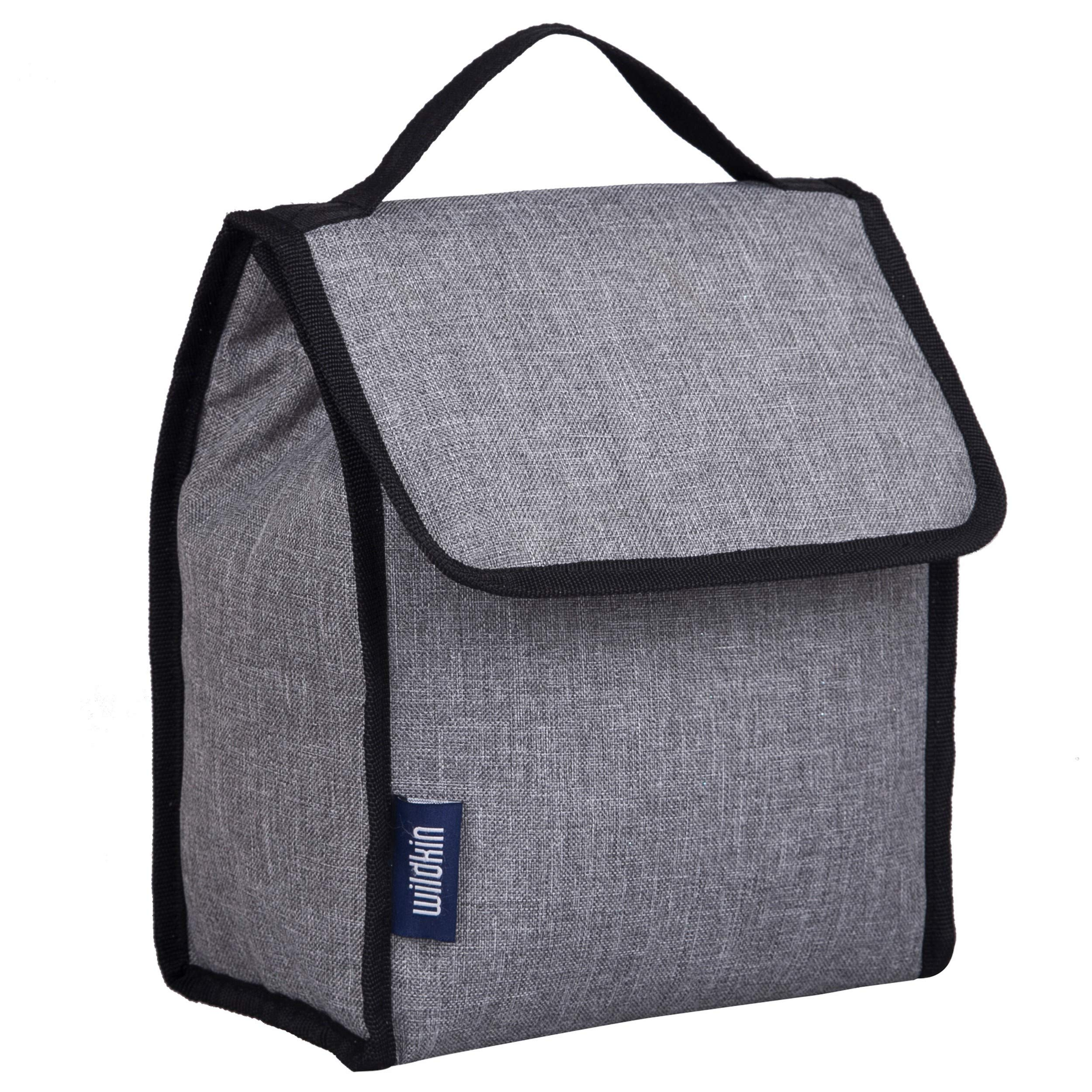 Wildkin Large Insulated Lunch Bag for Men and Women, Perfect Size for Packing Hot or Cold Snacks for Work and Travel, Measures 10 x 8.5 x 5 Inches, Mom's Choice Award Winner, BPA-free (Grey Tweed)