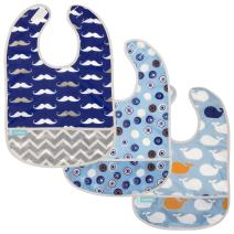Kushies Cleanbib Waterproof Bib 6-12M 3-Pack Blue Crazy Circles 2 / Blue Whales/Navy Mustache