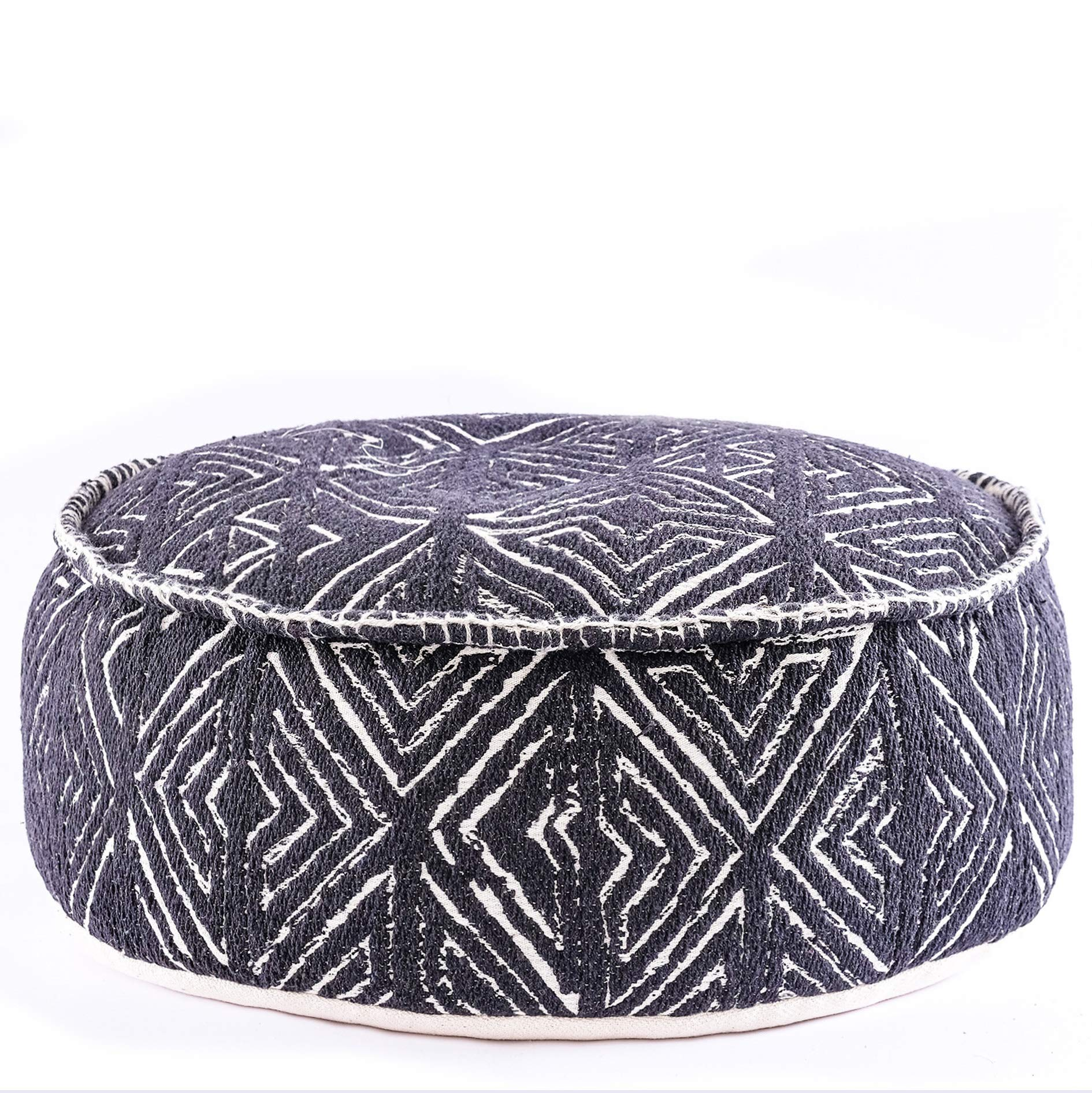 Mandala Life ART Tribal Pouf Ottoman - 24x8 inches STUFFED-Luxury, Artisan Room Décor Pouffe for Meditation, Yoga, and Boho Chic Seating Area Stool Floor Pillow Case– Accent Your Living Room, Bedroom