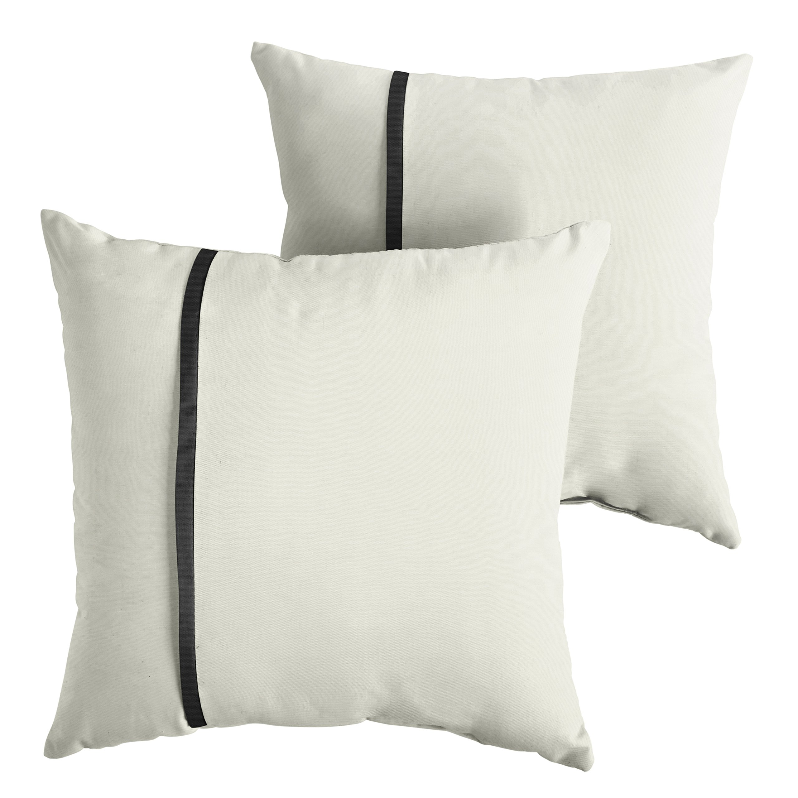 Mozaic Company AMPS114562 Indoor Outdoor Sunbrella Square Pillows, Set of 2, 16x16, Canvas Natural Ivory & Canvas Black