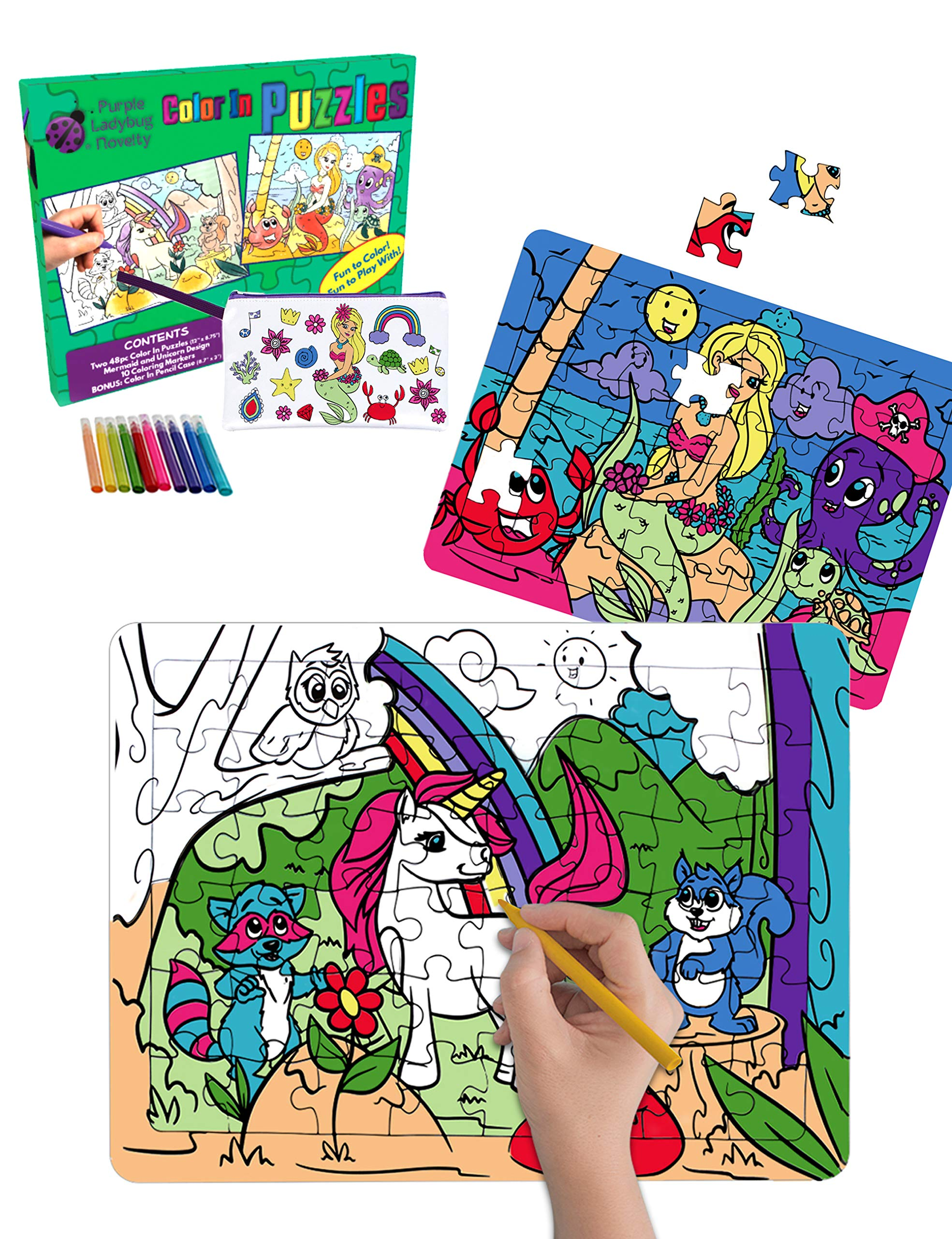 Purple Ladybug Creative Girls Puzzles with Unicorn & Mermaid Designs! 2 Color in Jigsaw Puzzles for Kids with 10 Coloring Markers + a Bonus Color in Pencil Case! Fun Art Toy Set, Great Gift for Girl!
