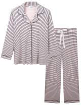 Joyaria Womens Soft Bamboo Pajama Sets Button Down Long Sleeve Pj Pants Set Sleepwear