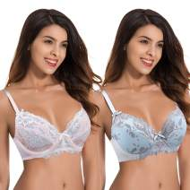 Curve Muse Womens Plus Size Unlined Semi-Sheer Balconette Underwire Lace Bra-2PK