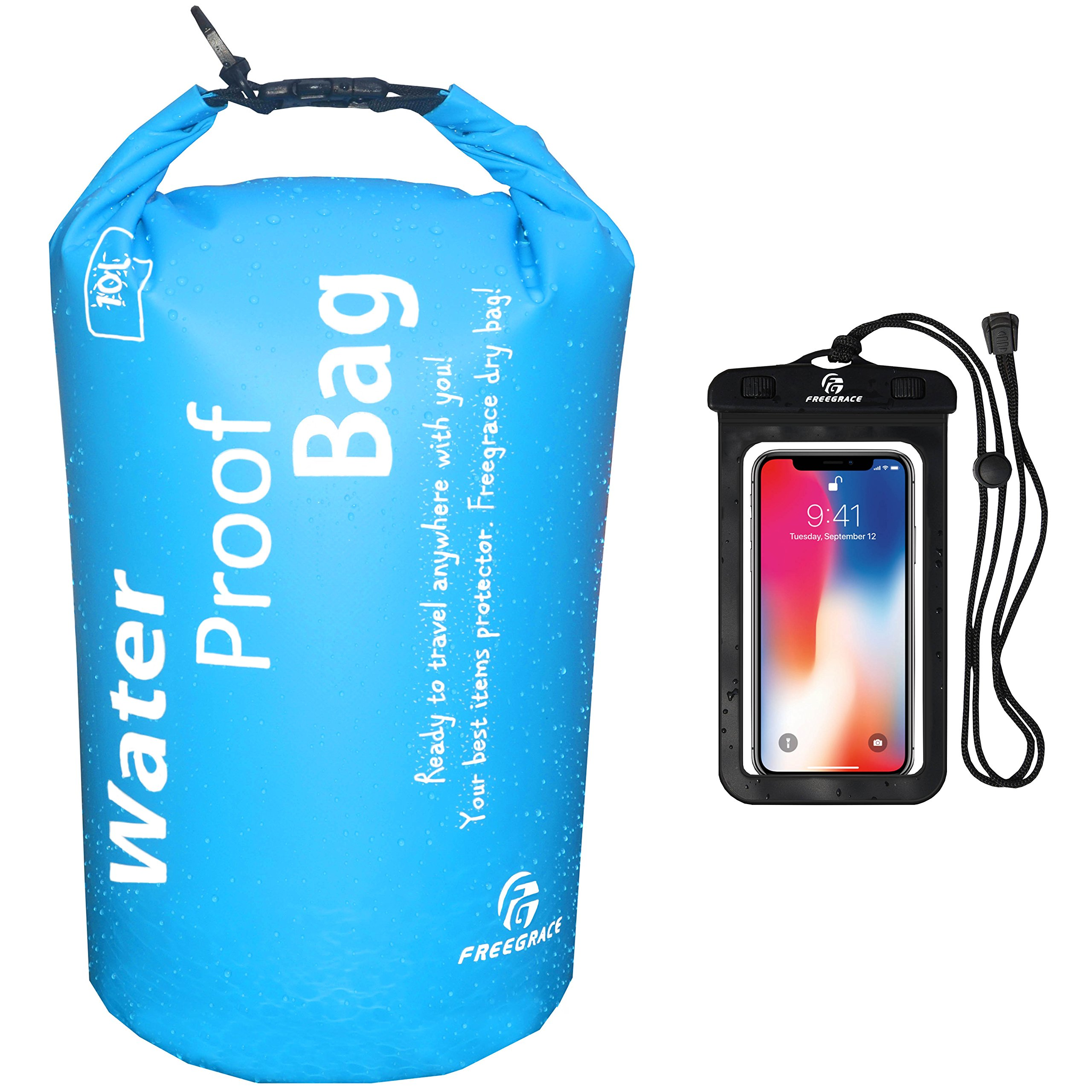 Freegrace Waterproof Dry Bag - Lightweight Dry Sack with Seals and Waterproof Case - Float on Water - Keeps Gear Dry for Kayaking, Beach, Rafting, Boating, Hiking, Camping and Fishing