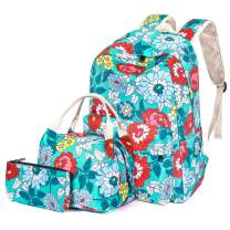 H HIKKER-LINK Floral School Backpack Set Bookbag&Lunch&Pencil Bag Water Blue