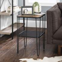 Walker Edison Furniture Company Mid Century Hairpin Metal Frame Square Modern Side Accent Living Room Storage Small End Table, Reclaimed Barnwood