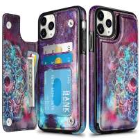 HianDier Wallet Case for iPhone 11 Pro Max Case Slim Protective Case with Credit Card Slot Holder Flip Folio Soft PU Leather Magnetic Closure Cover for 2019 iPhone 11 Pro Max 6.5 Inches, Mandala