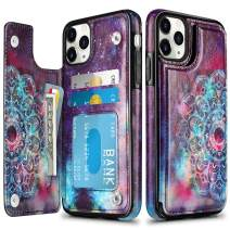 HianDier Wallet Case for iPhone 11 Pro Case Slim Protective Case with Credit Card Slot Holder Flip Folio Soft PU Leather Magnetic Closure Cover for 2019 iPhone 11 Pro 5.8 Inches, Mandala
