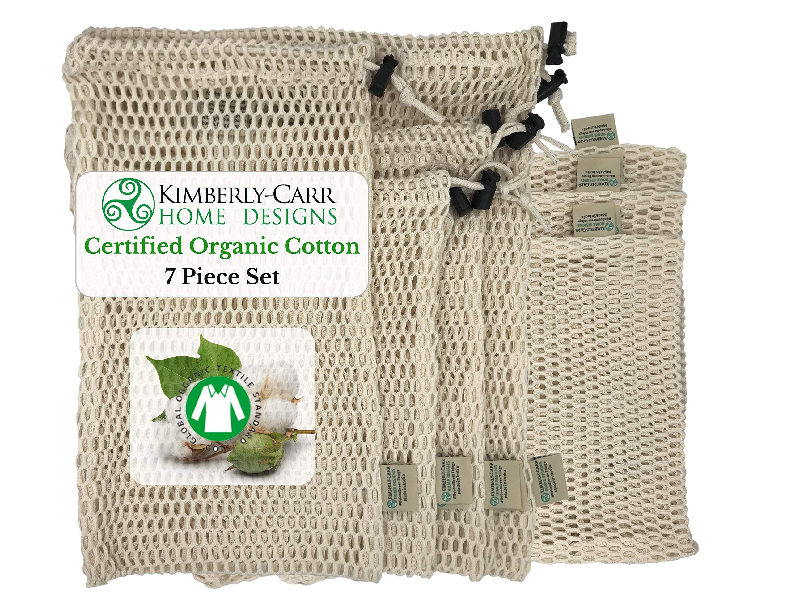 ZERO WASTE ORGANIC COTTON MESH REUSABLE PRODUCE BAG SET   Premium Washable Bags for Fresh Fruits & Vegetables   Compostable, Biodegradable   Sustainable Alternative to Plastic Bags   4 Sizes   7 Bags