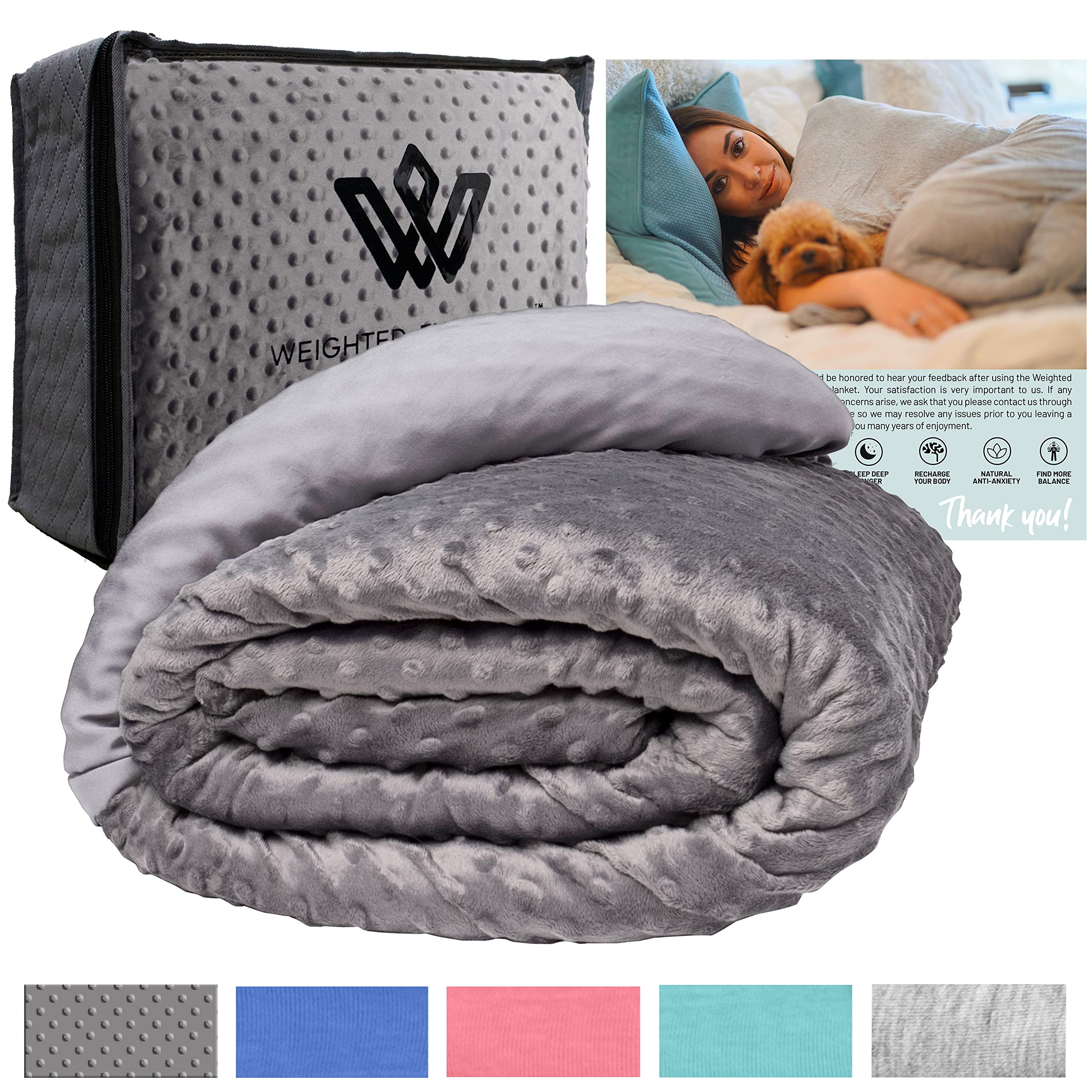 """Weighted Evolution Weighted Blanket+Bonus Organic Bamboo Lyocell/Sensory Dot Cover Best Blanket for Adults/Kids-Hypoallergenic Warm Cooling Calm Cozy Heavy Blanket (Minky/Bamboo, 48""""x72"""" 12 lbs)"""