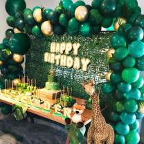 Jungle Theme Party Supplies:143pcs White & Gold & Green Latex Balloons,23 Green Palm Leaves with 16ft balloon strip and 2pcs balloon tying tools for Birthdays, Baby Shower, Safari Party Decorations