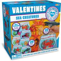 JOYIN 28 Pcs Valentines Day Gift Cards with Funny Sea Animal Toys for Kids Valentine Classroom Exchange Valentine's Party Favors Toys