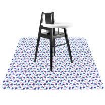 Langsprit 53'' Splat Mat for Under High Chair - Washable Splash Mat Anti-Slip Mess Mat Portable Play Mat,Table Cloth for Art/Crafts,Turtle