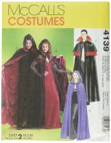 McCall's Costumes M4139, Vampire Cape Costume Sewing Pattern, S-M-L-XL