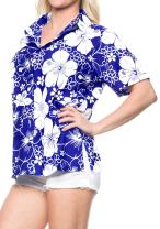 LA LEELA Women Plus Size Outwear Regular Fit Hawaiian Shirts for Women Printed A