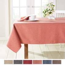 """Town & Country Living Somers Modern Farmhouse Tablecloth, Picnic/Indoor Outdoor/Stain Resistant/Machine Washable Polyester, 60""""x160"""" Rectangle Pink"""