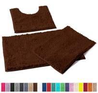 LuxUrux Bathroom Rugs 3pc Non-Slip Shaggy Chenille Bathroom Mat Set, Includes U-Shaped Contour Toilet Mat, 20 x 30'' and 16 x 24'' Bath Mat, Machine Washable (3 Pc Set - Style A, Brown)