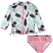 SwimZip Girl's 2 Piece Long Sleeve Rash Guard Swimsuit UPF 50+ (Multiple Colors)